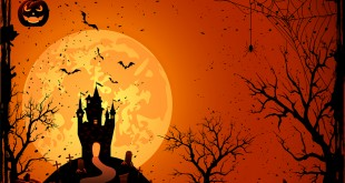 Halloween night, black castle on the moon background, illustration.